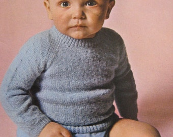 Vintage Knit Pattern for Baby Pullover Sweater PDF Pattern B157d