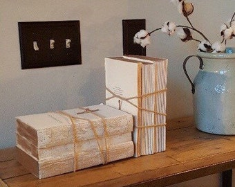White Books Stacks, French Country, Unbound Books, Book Ends, Rustic Books, Distressed Books, Rustic Wedding, Rustic Book Stacks, Decor