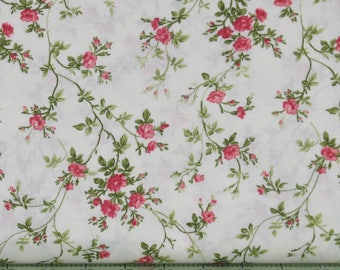 Pink Flower Sprays with Leaves on Ivory Cotton Quilt Fabric Blender, Shabby Chic, Poppies Collection, Fat Quarter, Yardage, MAS8784-E, Cream