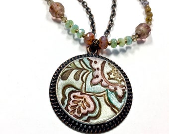 Artisan Crafted Necklace, Spring Pastels, Paisley Pendant, OOAK Jewelry