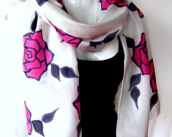 """Hand Painted Silk Scarf, Roses, Pink Red Black White, Floral Silk Scarf, 71"""" x 18"""", Gift For Her"""