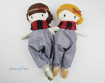 LIMITED EDITION stuffed doll Mini Pals soft rag doll keepsake gift OOAK ready to ship winter denim plaid boots