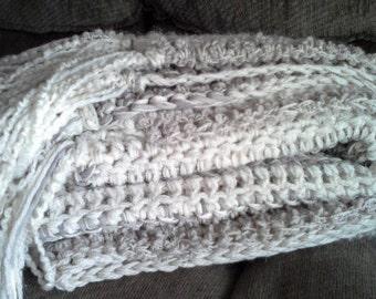 Chunky crochet throw,  crochet blanket, neutral crochet blanket,cream crochet blanket, grey throw,hand crochet throw