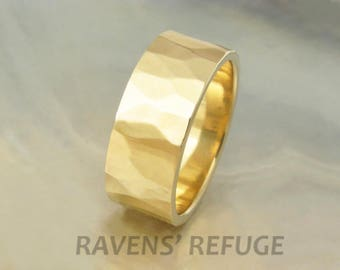 7mm wedding band, men's or women's -- hand hammered in sustainable 14k yellow gold