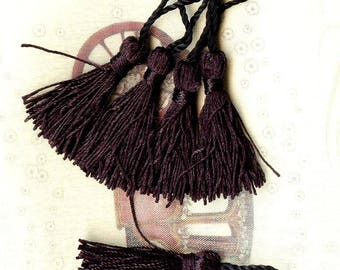 5 x faux silk 50mm black - MAT1938 tassels