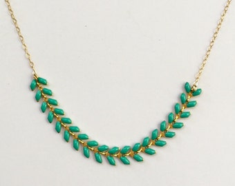 Gold and Turquoise Leaf Necklace Statement Necklace Leaf Necklace Classic Necklace Delicate Necklace