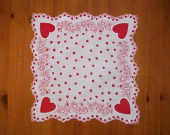 Vintage Valentines & Roses Hankie - '50's Red Hearts Red Roses Floral Valentine Hankie - 1950's Red White Scalloped Heart Hankie Linen