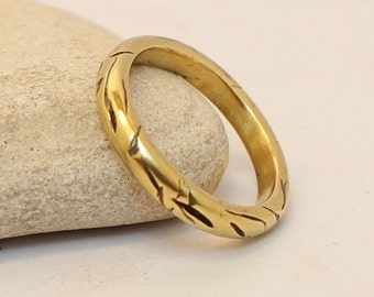 Brass Ring- Gold Ring-  Wedding Band-  Women's/ Men's  Ring- Bronze Band- Hammered band-  Rustic Ring-