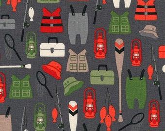 Brawny Bear Flannel, Fishing Cotton Flannel, Wild Flannel, Baby Bedding, Hunting fabric, Boy Fabric, Robert Kaufman Fabrics