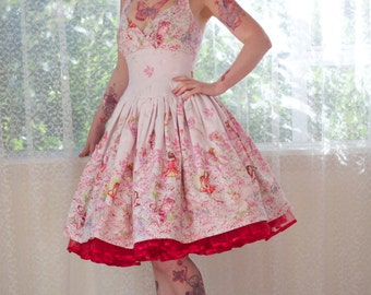 "1950's Style ""Amelia"" Fairy Dress with Cross over Bodice and  Drop Waist Full Circle Skirt- custom made to fit"