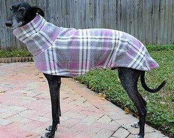 "Greyhound Coat. ""Heavy-Weight Pink & Gray Plaid Cocoon Coat"" - Greyhound Sizes"
