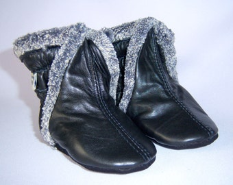 Baby boots winter black lamb leather boots, toddler winter boots, baby winter boots, toddler booties
