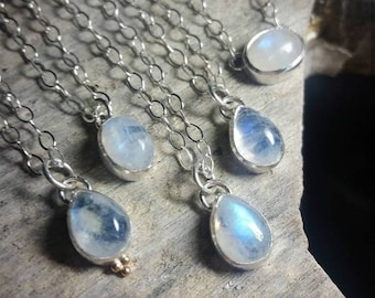 Tiny Little Blue Moonstone Teardrop Necklace - Small Crystal Raindrop Pendant - Unique Handmade