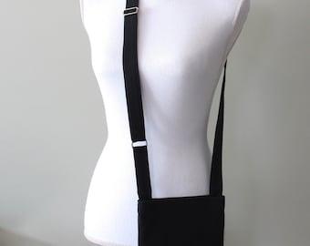 Cross Body Nephrostomy Bag Cover, 600 mL Drainage Bag Cover, Urine Bag Holder, Catheter Bag Holder, SOLID BLACK