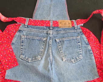 "A26 Handmade ""Cooking Britches"" Blue Denim Jeans Apron Child Children's Girls Red Star Cotton Print Accent"
