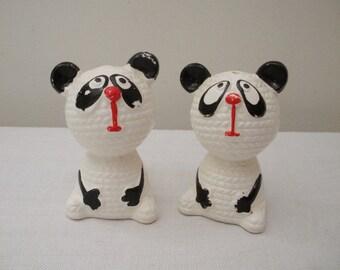 Vintage Panda Bear Salt and Pepper Shakers