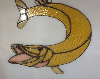 Muskey / Pike fish in stained glass