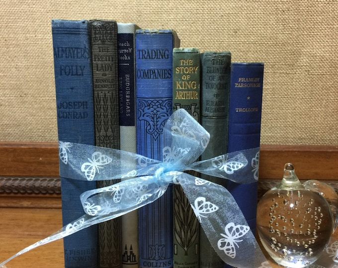 Featured listing image: BLUE Vintage BOOK COLLECTION - Old Books Decoration - Interior Design Shelf Staging - Blue Home Decor - Custom Sourced Books