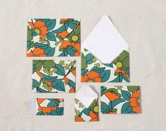 60s Psychedelic Floral - Set of 6 Handmade Patterned Envelopes