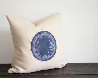 One of a Kind Modern Indigo and Cream Hand Dyed Botanical Sunprint Wool Throw Pillow