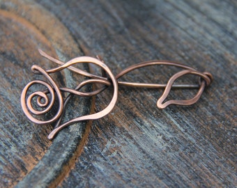 "Shawl pin, scarf pin, copper shawl pin ""Rose, Queen of flowers"" from ""Blooming"" collection, copper brooch, floral, woodland"