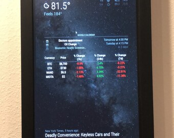 InfoBoard - Framed Smart Display for Time, Weather, Calendar, Cryptocurrency Prices and more!