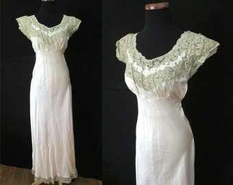 """Exquisite 1930's Silk Satin Designer Bias Cut Gown w/ Hand Made Lace Trim by """"Heavenly Silk Lingerie"""" Old Hollywood Boudoir Size-Medium"""