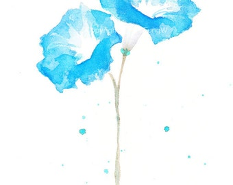 Fine art watercolor painting, flower art,  BLUE MORNING GLORY watercolor art print, giclee print, flower interest