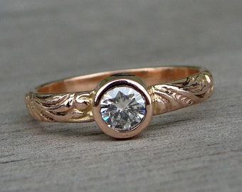 Moissanite Rose Gold Ring - Recycled 14k Rose Gold Wedding, Engagement, or Right Hand Ring with Scroll Patterned Band, Made To Order