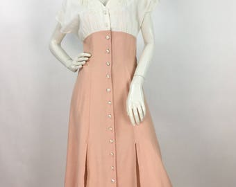 80s maxi dress/cream and pink maxi dress