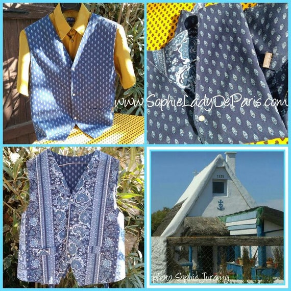 Vintage Blue Provence Men Vest Cotton Made Reversible Cow Boy Vest Snap Fastener Buttons Medium  #sophieladydeparis