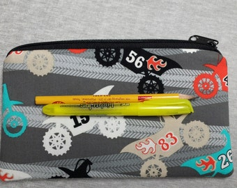 Zipper Pouch, Dirt Bikes, Crayon Case, Bikes Pencil Case, Gadget Bag, Marker Zipper Case with Bikes, Small Toy Bag with Bikes, Nylon Lining.