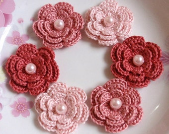 6 Crochet Flowers With Pearls In Lt pink, Dusty rose, Colonial rose YH-013-57