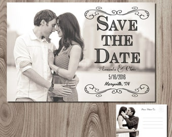 Modern Text Save the Date Post Card Printable DIY