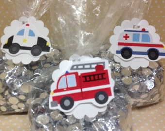 Emergency Vehicles, Ambulances, Fire Trucks, Police Cars Party or Favor Bags With Tags - Set of 10