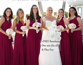 Burgundy Bridesmaid Dress Maroon Convertible Dresses Infinity Dress, ball gown, party dress, Coktail Dress, Prom Dress, Maternity Dress