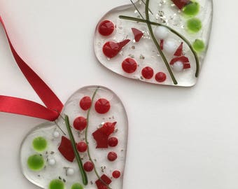 Christmas Hearts- tree decoration-red-green- gift-