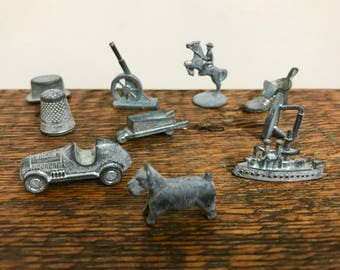 Set of 10 Vintage Monopoly Game Pieces / Monopoly Tokens: Thimble, Top Hat, Scottie Dog, Battleship, Iron, Boot, Race Car, Cannon, Howitzer
