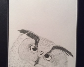 Did someone say lunch? - Eagle owl - original. Free UK postage