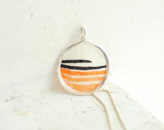 Ready to Ship, Orange Black Necklace, Striped Jewelry, Wearable Art Original Painting Pendant