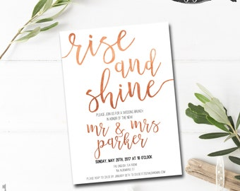 Post Wedding Brunch Invitation Printable - Rise and Shine - Brunch Invitation - Bridal Brunch Invitation