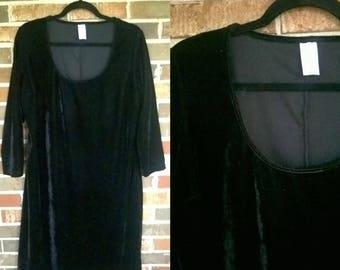 Black 3/4 Sleeve Velvet Dress, L