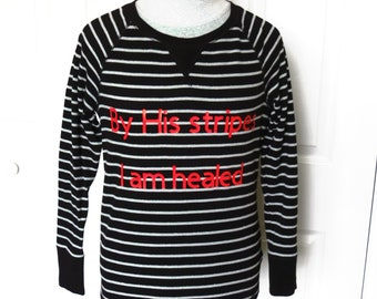 "Black ""By His Stripes"" Silver Striped Thermal Shirt - Medium... Christian Fashion, Jesus, healed, healing, T-Shirt, graphic"