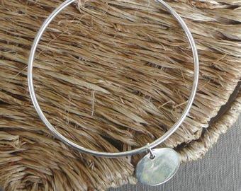 """Silver Bangle Bracelet """"Medal"""" 62 mm"""