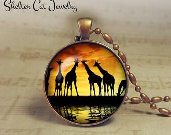 """Giraffes at Sunset - 1-1/4"""" Circle Pendant or Key Ring - Handmade Wearable Photo Art Jewelry - Nature Art - Giraffe Wildlife - Gift"""