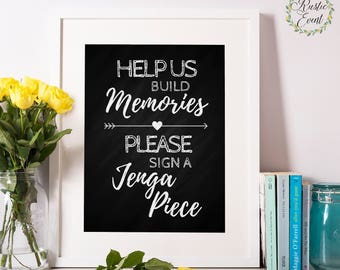 Build memories / Sign a jenga piece / Alternative wedding sign / guest book sign / Chalkboard Wedding Printable Sign / INSTANT DOWNLOAD