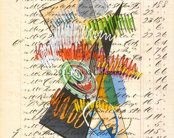 Page 151: original mixed media abstract expressionist painting on antique ledger page