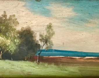 View of the blue sea in Northern France (antique oil painting)