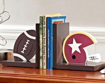 Football Sports Wooden Nursery Bookends / Book stands / Book holders -  Birthday / Baby Shower Gift