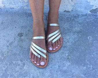Gold Greek Sandals, Slip on Sandals, Summer Flats, Leather Sandals, Roman Sandals, Women's Sandals, Leather flats, Natural Leather, Handmade